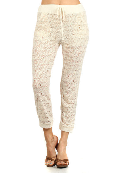 Bailey Loose Fit Crochet Pant (Black or White) - Hapa Clothing