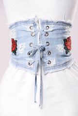 It's a Cinch Corset Belt-Light Denim