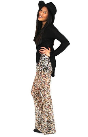 Zephra Flower Lace Bell Bottom - Black Salmon - Hapa Clothing