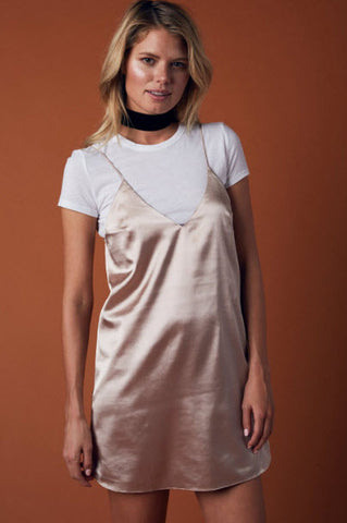 Plunge Slip Silk Dress- Bronze - Hapa Clothing - 2