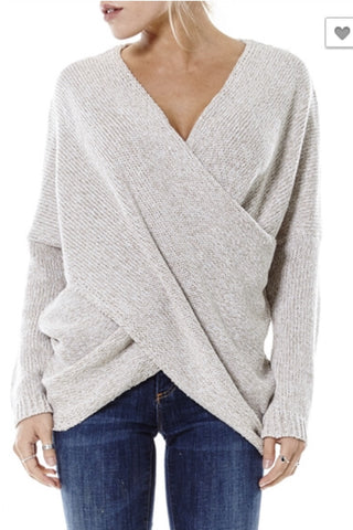 Naomi Drape Front Sweater - Oatmeal - Hapa Clothing - 1