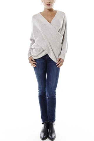Naomi Drape Front Sweater - Oatmeal - Hapa Clothing - 2