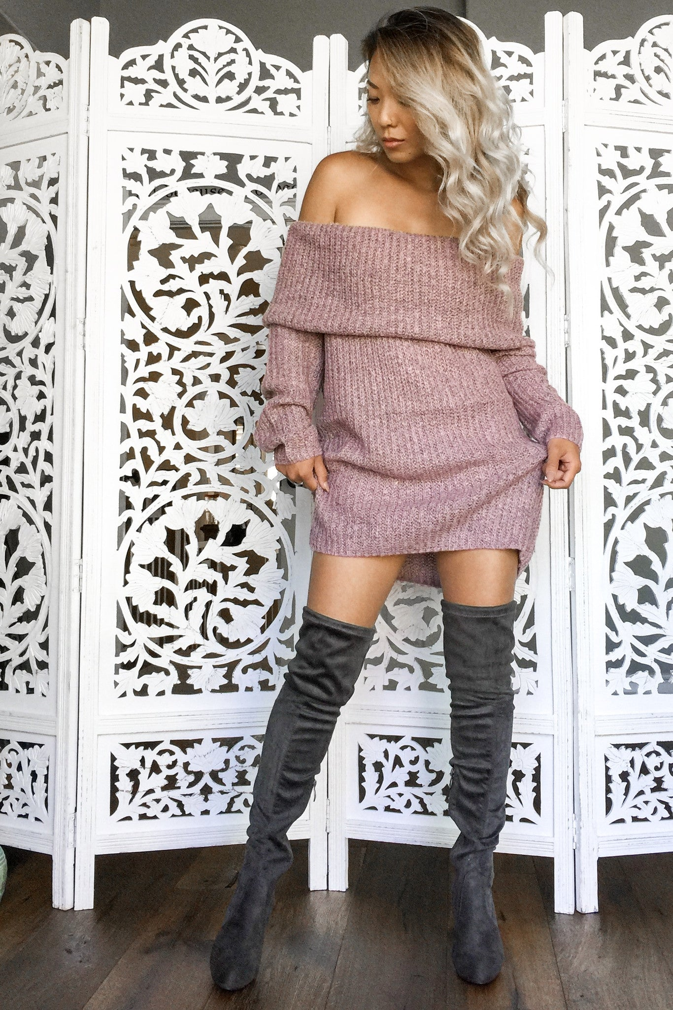 Monica Off Shoulder Sweater-Rose - Hapa Clothing - 3