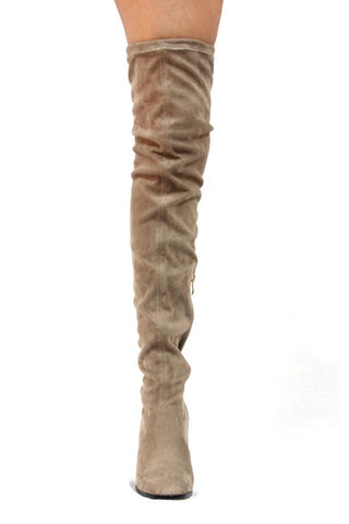 Kourtney Thigh High Boots- Taupe - Hapa Clothing - 2