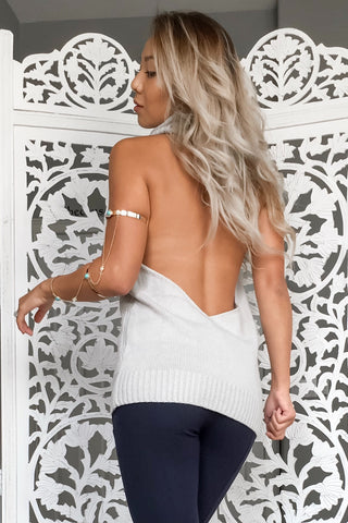 Giselle Backless Turtleneck- Light Grey - Hapa Clothing - 1