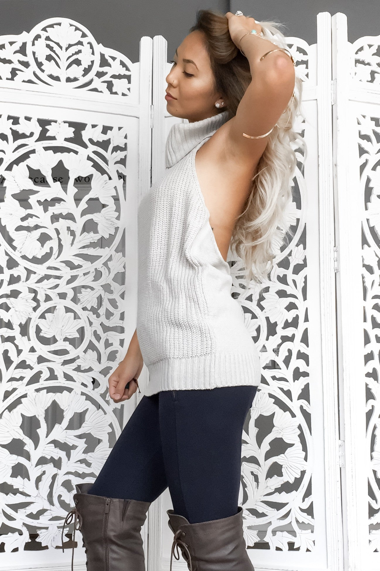 Giselle Backless Turtleneck- Light Grey - Hapa Clothing - 3