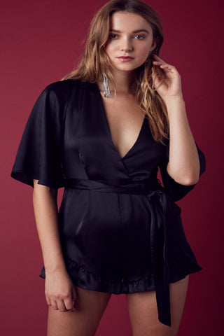 Ainsley Satin Romper-Black - Hapa Clothing