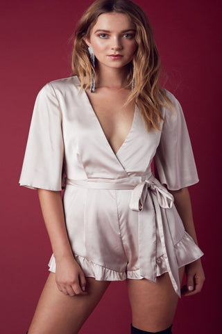 Ainsley Satin Romper-Champagne - Hapa Clothing