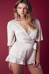 Ainsley Satin Romper-Champagne - Hapa Clothing - 1