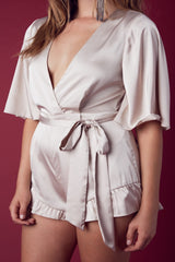 Ainsley Satin Romper-Champagne - Hapa Clothing - 3