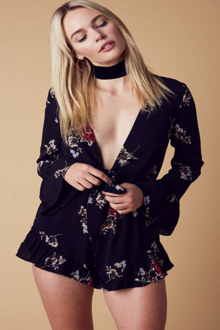 Ainsley Satin Romper-Black