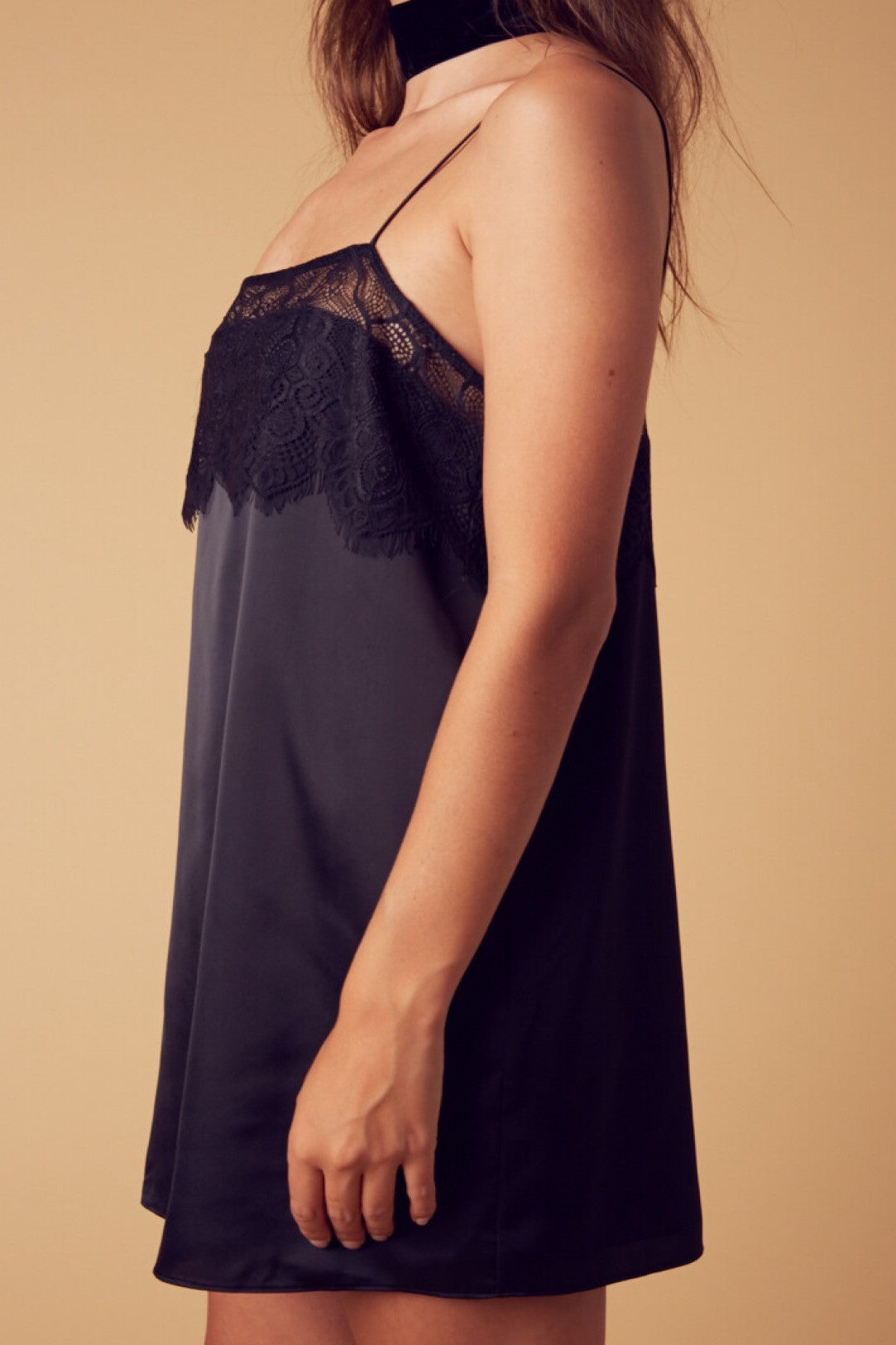Janelle Satin and Lace Dress-Black - Hapa Clothing - 3