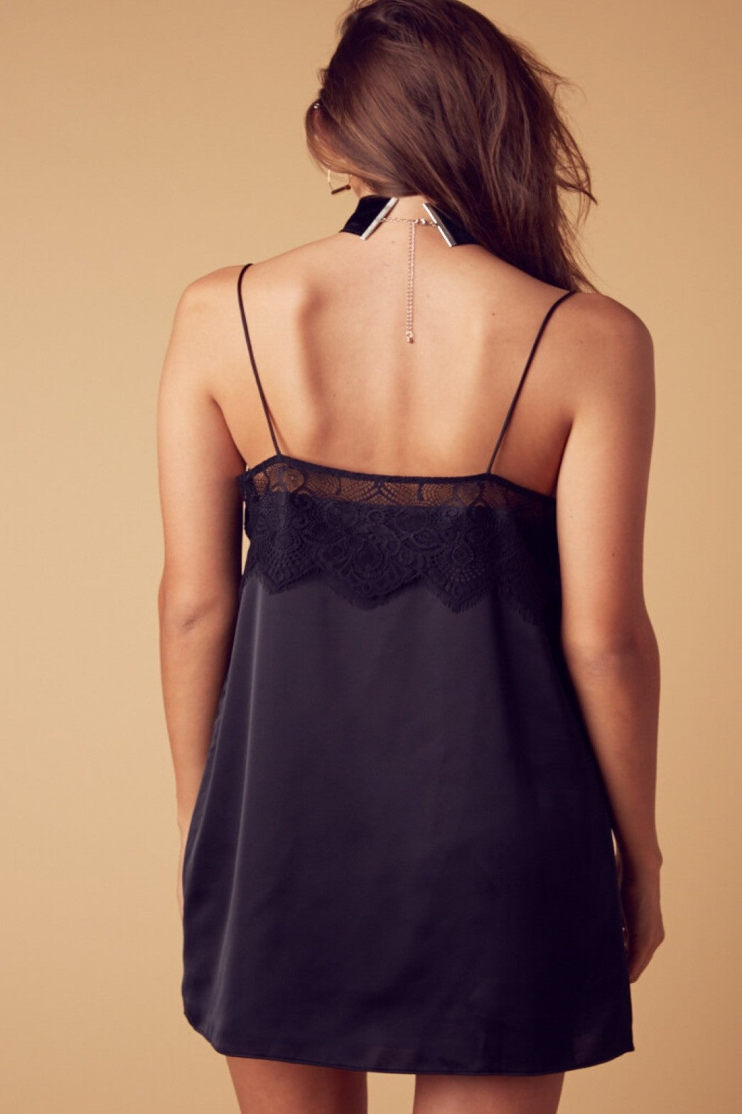 Janelle Satin and Lace Dress-Black - Hapa Clothing - 4
