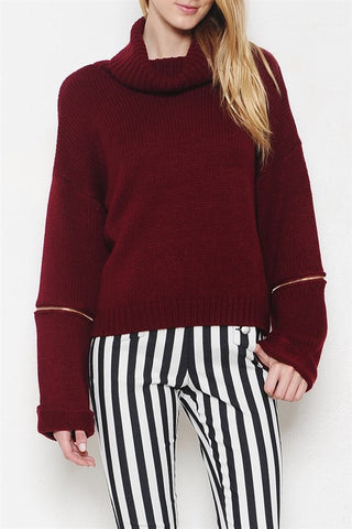 Ansley Zip Sweater-Burgundy - Hapa Clothing - 1