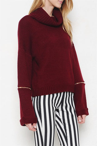 Ansley Zip Sweater-Burgundy - Hapa Clothing - 2