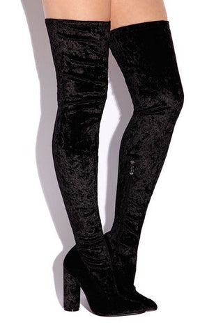 Inez Velvet Thigh High Boot - Black - Hapa Clothing - 2