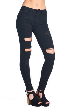 Alaia Distressed Contouring Skinny Jeans - Black - Hapa Clothing - 2