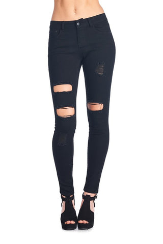 Gia Solid Fleece Leggings with Zipper Detail - Black
