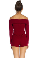 Callie Crossover Bardot Playsuit - Wine - Hapa Clothing - 3