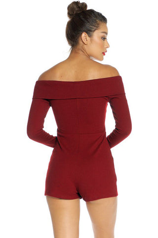 Callie Crossover Bardot Playsuit - Wine - Hapa Clothing