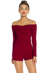 Callie Crossover Bardot Playsuit - Wine - Hapa Clothing - 1