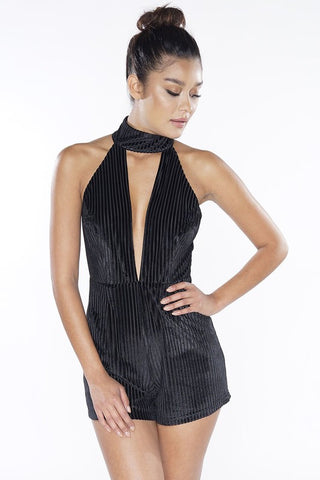 Bernice Cold Shoulder Playsuit- Black