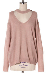 Nora Choker Sweater - Mauve - Hapa Clothing