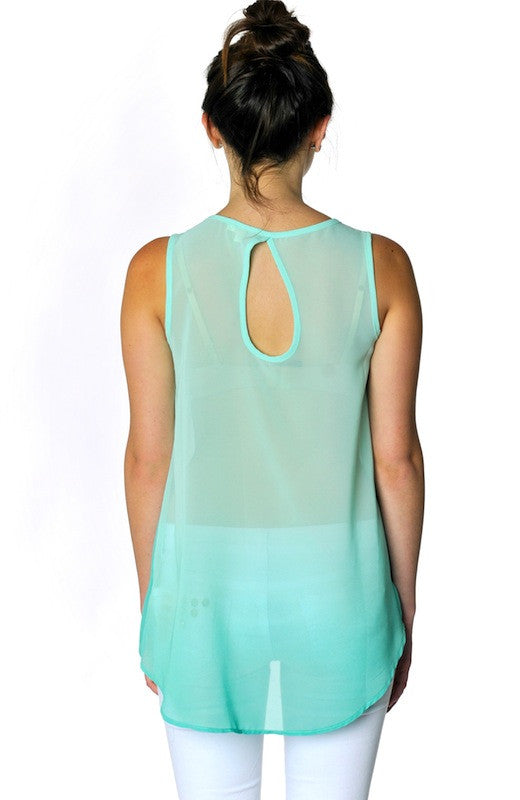 Ombre Keyhole Sheer Tank- Mint - Hapa Clothing - 2