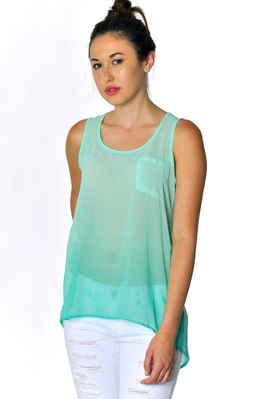 Ombre Keyhole Sheer Tank- Mint - Hapa Clothing
