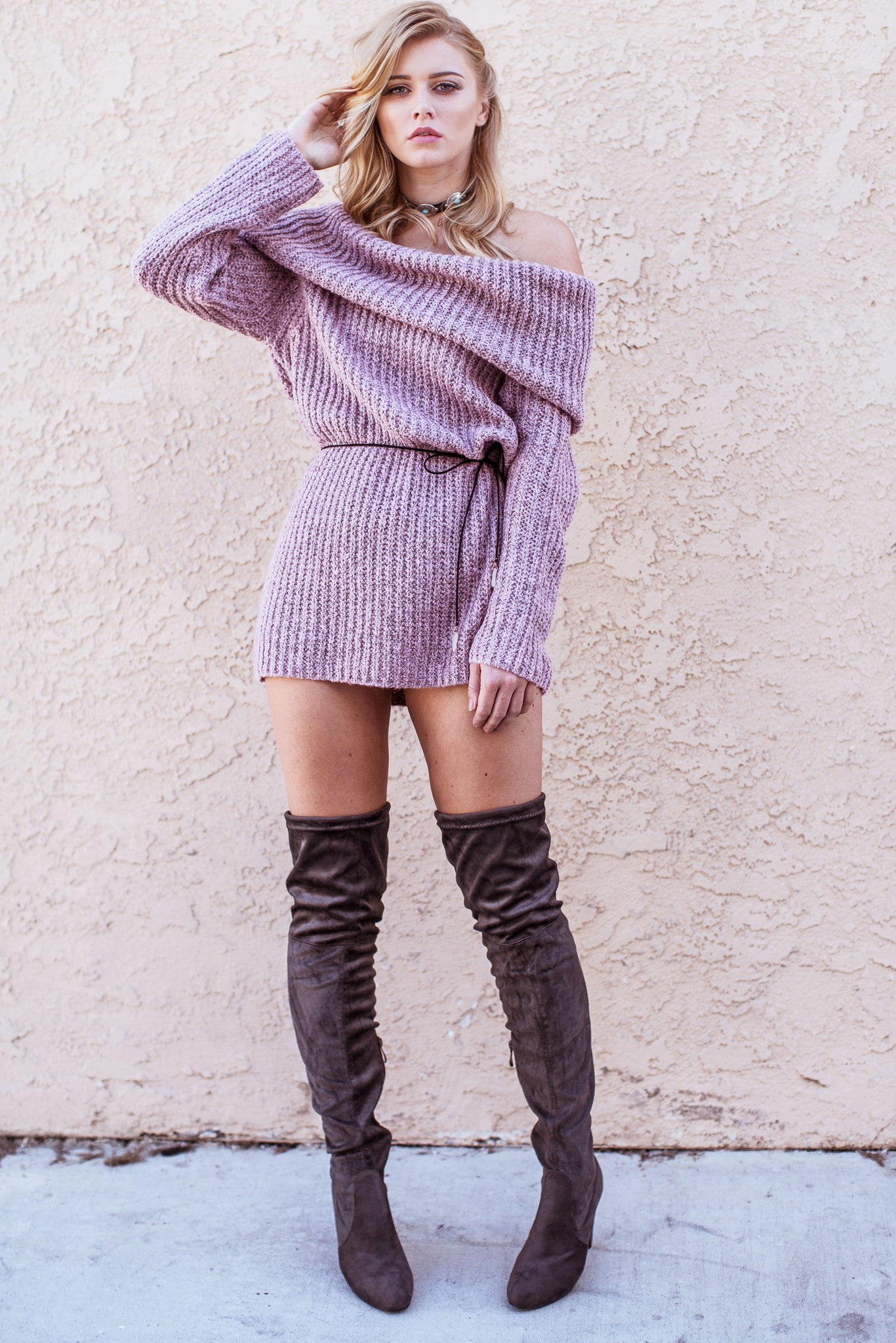 Monica Off Shoulder Sweater-Rose - Hapa Clothing - 1