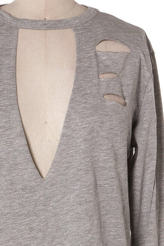 Aria Distressed Choker Tunic - Grey - Hapa Clothing