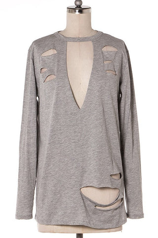 Iysa Lace Up Knit Sweater - Heather Grey
