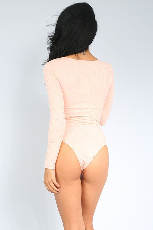 Cece Ribbed Bodysuit-Pink - Hapa Clothing - 3