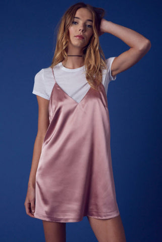 Plunge Slip Silk Dress- Dusty Pink - Hapa Clothing