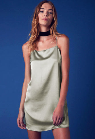 Slip In Silk Dress- Moss - Hapa Clothing - 1