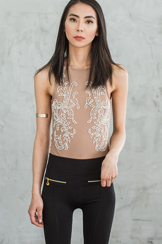 Sparkle in the Buff Bodysuit-Nude - Hapa Clothing - 1