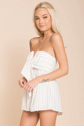 Chelsea Strapless Romper- White - Hapa Clothing