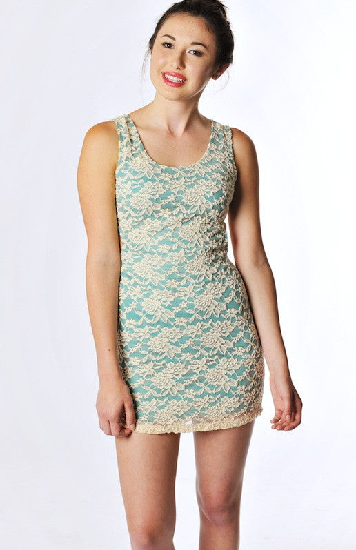 Lace Overlay Dress - Teal - Hapa Clothing