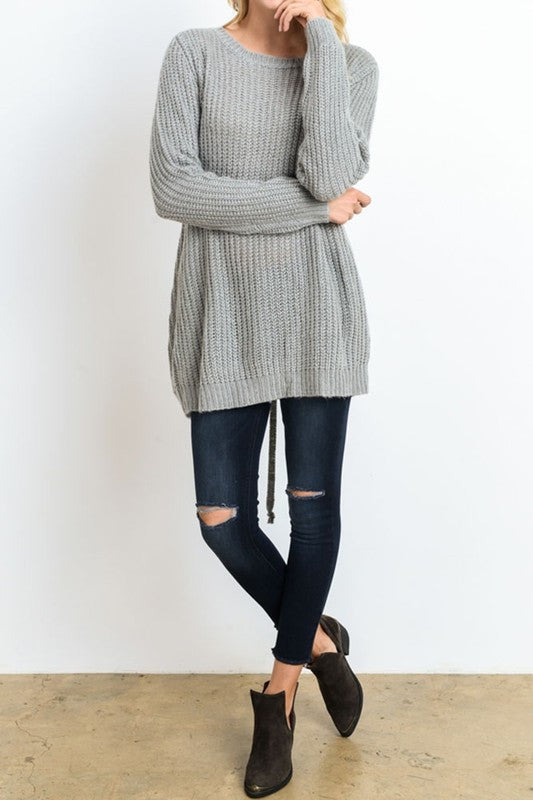 Iysa Lace Up Knit Sweater - Heather Grey - Hapa Clothing - 4