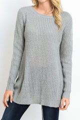 Iysa Lace Up Knit Sweater - Heather Grey - Hapa Clothing - 5