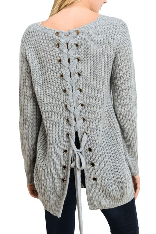 Iysa Lace Up Knit Sweater - Heather Grey - Hapa Clothing - 2