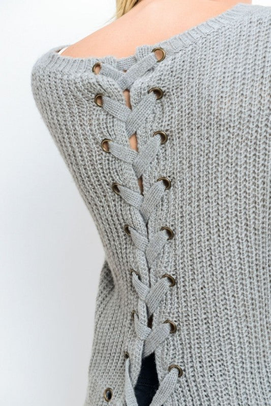 Iysa Lace Up Knit Sweater - Heather Grey - Hapa Clothing - 3