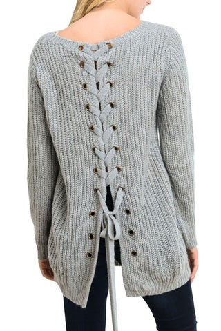 Iysa Lace Up Knit Sweater - Heather Grey - Hapa Clothing
