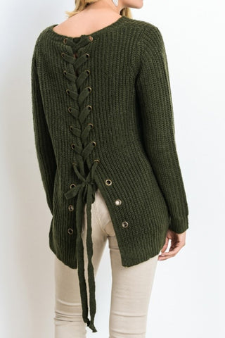 Iysa Lace Up Knit Sweater - Olive - Hapa Clothing
