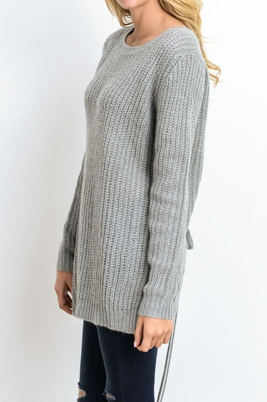 Iysa Lace Up Knit Sweater - Heather Grey - Hapa Clothing - 6