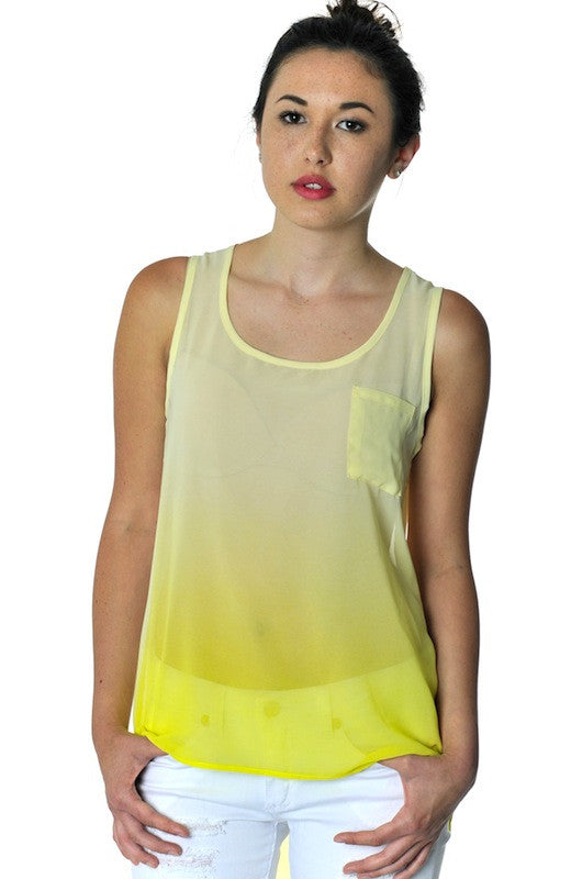 Ombre Keyhole Sheer Tank- Yellow - Hapa Clothing