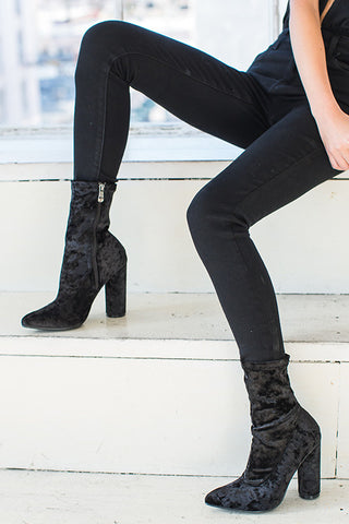 Ava Crushed Velvet Booties-Black - Hapa Clothing - 1
