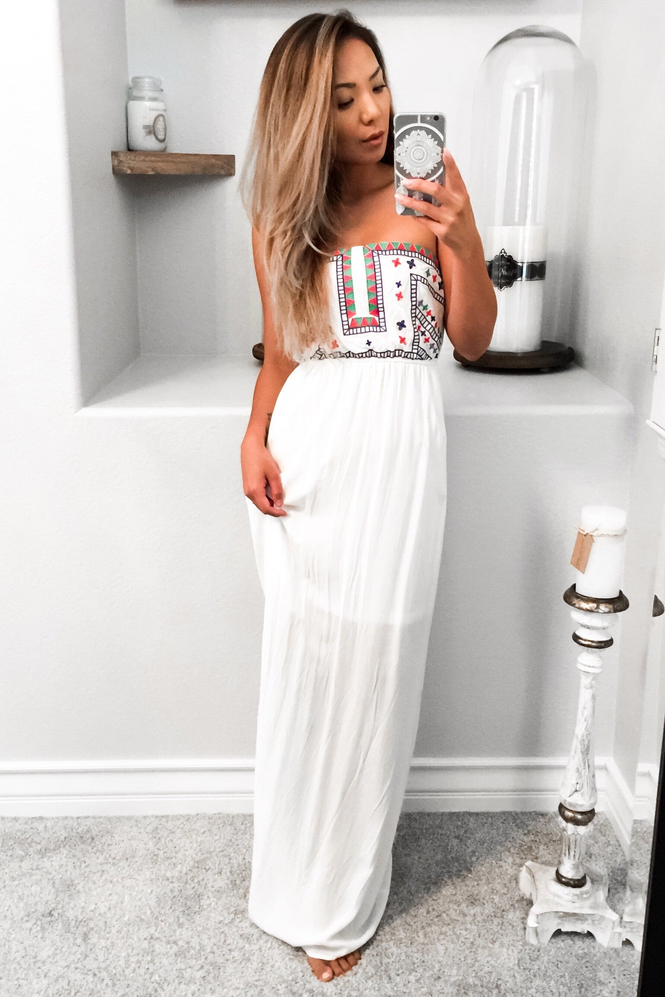 Adsila Strapless Maxi Dress-White - Hapa Clothing