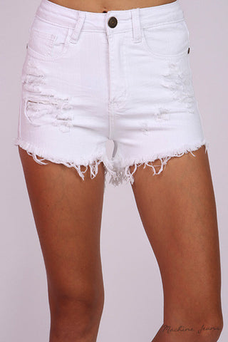 White Desert Distressed Highwaisted Shorts - Hapa Clothing - 1