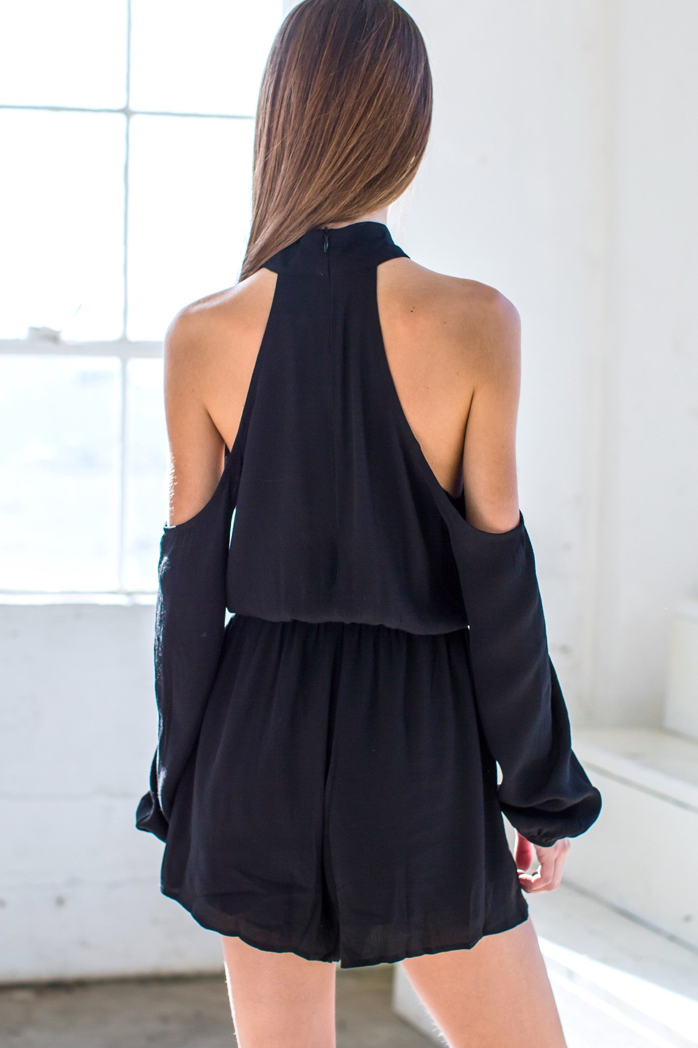 Bernice Cold Shoulder Playsuit- Black - Hapa Clothing - 4